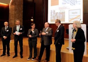 vlnr: Matthias Böss, Dr. Ralf Geruschkat, Prof. Dr. Petra Schäfer, Ansgar Roese,  Jürgen Schultheis und Doris Krüger-Röth